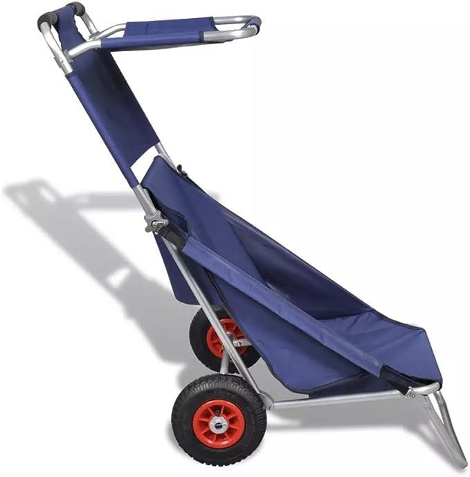 Carrello Sdraio Da Spiaggia.Vidaxl Carrello Da Spiaggia Con Ruote Portatile Pieghevole Blu Trolley Sdraio