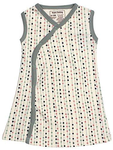 - Organic Cotton Baby Girl Kimono Dress GOTS Certified (Stripes-Dots, 6-12m)