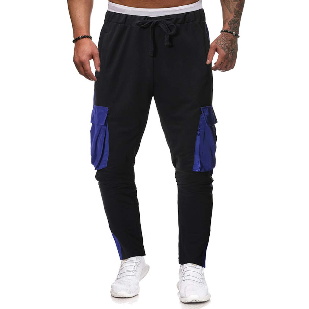 Sunmoot Clearance Sale Fashion Men's Casual Loose Sports Trousers Patchwork Color Sweatpant Drawstring Jogger Pant Black
