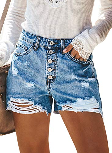 BLENCOT Women's Junior Ripped High Rise Frayed Hem Stretchy Distressed Jeans Denim Shorts