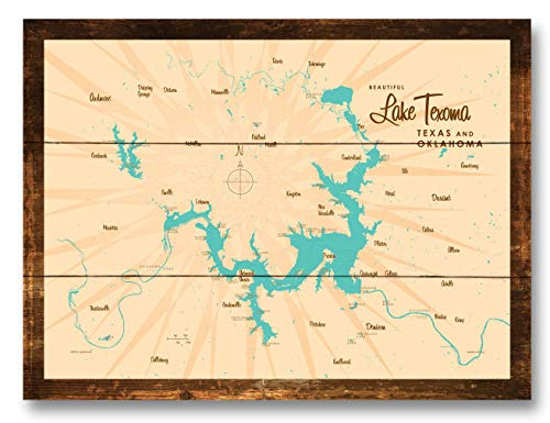Lake Texoma TX Oklahoma Map Rustic Wood Art Print by Lakebound (9
