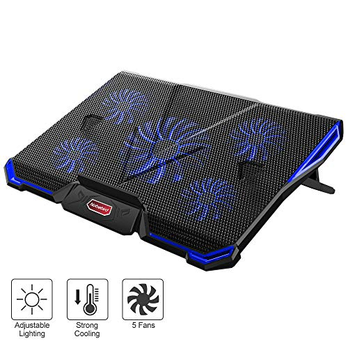 (Nobebird Laptop Cooler, Laptop Cooling Pad with 5 Quiet Fans for 12-17.3 Inch Laptop, Cooler Pad with LED Light, Dual 2 USB Ports, Adjustable Mount Stand Height Angle (5 Fans))