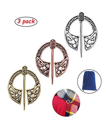 ZeroGoo Medieval Cloak pin, Bronze Penannular Brooch Pin - Vintage Irish Viking Style Décor Jewelry Gift Clasp for Cloak Shawl Scarf Leg Wrap (BP-03 & 3Pack)