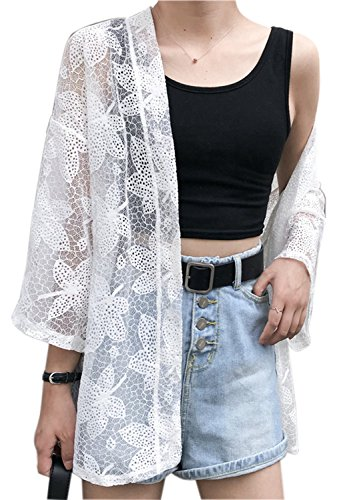 Beach Cover up Kimono Cover up lace Kimono Embroidered with 3/4 Sleeves (One Size, E-White) ()