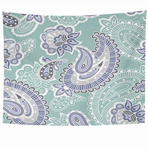 Alfredon Wall Tapestry Hanging, 60 x 50 Inches Turkish Cucumber Ornate Pattern Blue Abstract Flower Nature Floral Flourish Turquoise Purple Swirls Tapestries, Decor for Home Bedroom Living Room Dorm