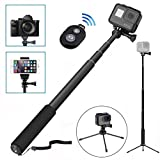 Wineecy Bluetooth Selfie Stick with Tripods for GoPro Hero 5/4/3+/3/2/ Session,xiaomi 4K Action Camera , 8-in-1 Extendable Monopod with Bluetooth Remote,Phone Clip for iphone iOS / Android Smartphones