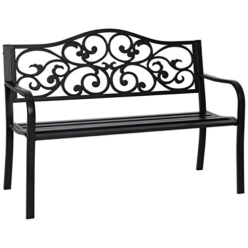 Best Choice Products 50in Classic Metal Patio Garden Bench for Yard, Porch w Decorative Floral Scroll Design – Black