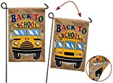 """Evergreen Back to School Double-Sided Burlap Garden Flag - 12.5""""W x 18'' H"""