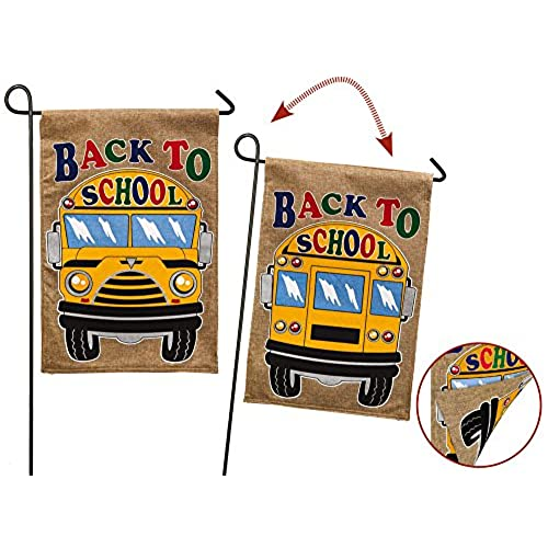 garden banners. Evergreen Back To School Double-Sided Burlap Garden Flag - 12.5\ Banners