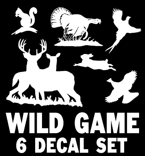 Wild Game Decal Set - Deer, Turkey, Grouse, Rabbit, Pheasant, Squirrel
