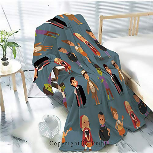 AngelSept Flannel Printed Blanket for Warm Bedroom,Cute Kids Wearing Halloween Party Costumes Vector Cracked Burning Earth Decorative,One Side Printing,W47.2 x -