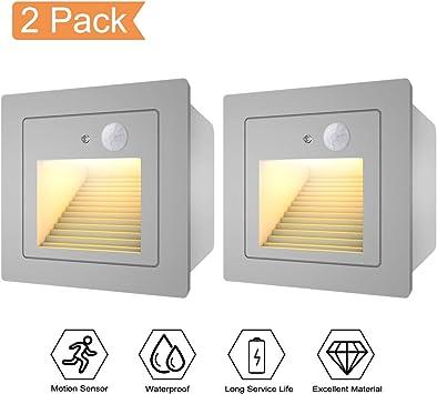 WZOED - Luz para escalera con detector de movimiento LED, foco de pared 3 W 3000 K
