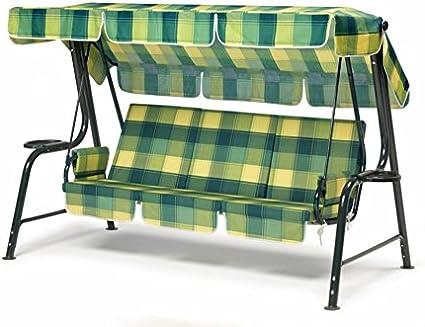 Balancín de jardín, balancín con imbottituracon revestimiento escocés verde amarillo, balancín 4 plazas, balancín: Amazon.es: Hogar