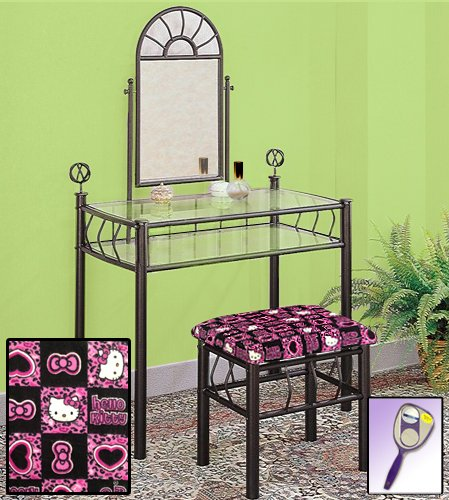 New Black Metal Sunburst Make Up Vanity Table with Mirror & Hello Kitty Themed - Mirror Kitty Hello Princess