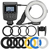Andoer 48 Macro LED Ring Flash Light with 6 Adapter Rings LCD Display for Canon Nikon Pentax Olympus Panasonic Sony DSLR