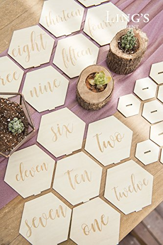 Ling's moment Vintage Elegant Hexagon Diamond Shape 1-15 Wood Table Number Cards Double-Sided Standing Place Card Holders for Wedding Party Bridal Shower Table Decor by Ling's moment (Image #3)
