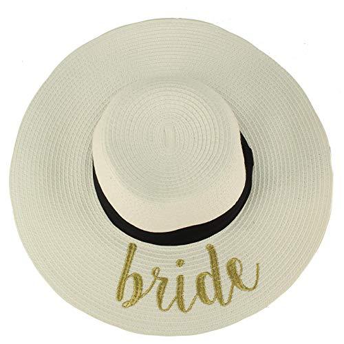 """Fun Verbiage Elegant Wide Brim 4"""" Summer Derby Beach Pool Floppy Dress Sun Hat White/Gold (Bride)"""