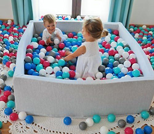 Bällebad mit Sweatstoff Rund 90 cm x 40 cm 200 Bällen Bällepool für Kinder