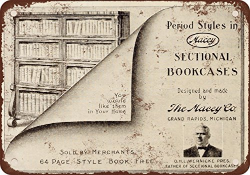 1910 Macey Sectional Bookcases Vintage Look Reproduction Metal Tin Sign 12X18 Inches