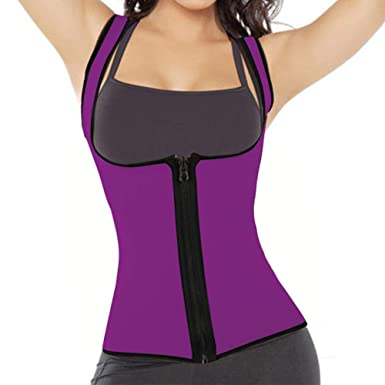e7d551549e HITSAN INCORPORATION Women Sweat Slimming Vest Neoprene Body Shaper Waist  Trainer Belly Fat Burning Weight Loss Corset H9 Color Purple Size S   Amazon.in  ...