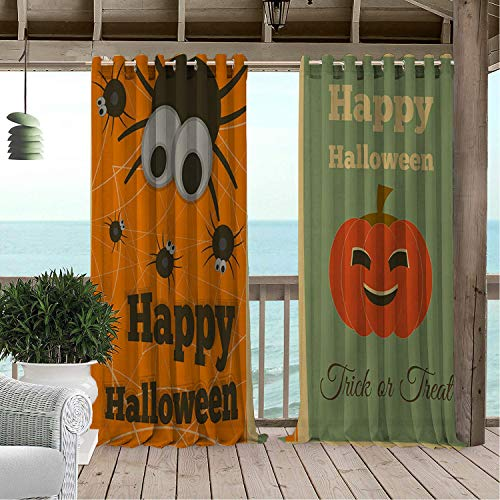 Gazebo Waterproof Curtains Happy Halloween Bless g Illustration doorways Grommets Decor Curtain 120 by 72 inch]()