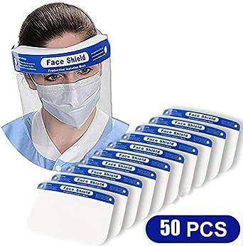 ORSEN Protector facial de seguridad, mascarilla facial reutilizable transparente transparente de cara completa, máscara facial, protege los ojos y la cara, evita la salpicadura de saliva(50 pcs)