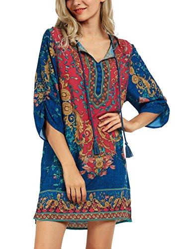 Women Shift Bohemian Pattern Summer Ethnic Dress 3 Tie Urban Printed Neck Vintage CoCo Style Bxw5v6