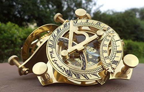 Sundial Compass Solid Brass by Era Collection Nautical Sundial Compass |Sundial Compass Outdoor|3 Inch Sundial Compass|Sundial Compass Garden WEST LONDON Handmade Marine Nautical Antique Navy Item