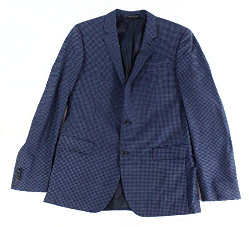 Hugo Boss Mens 42L Notched-Lapel Two Button Blazer Blue ()