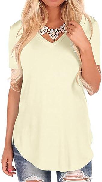 Donna Estiva Camicia,Longra T-Shirt Maglia Color Block Donna Color Block Chiffon Manica Corta Casuale Camicetta Camicie Top Estate Manica Corta Moda Shirt S-XL