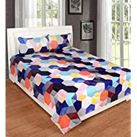 Roseate Comfort Collection 144 TC Glace Cotton Double Bedsheet with 2 Pillow Cover, Multi Colour