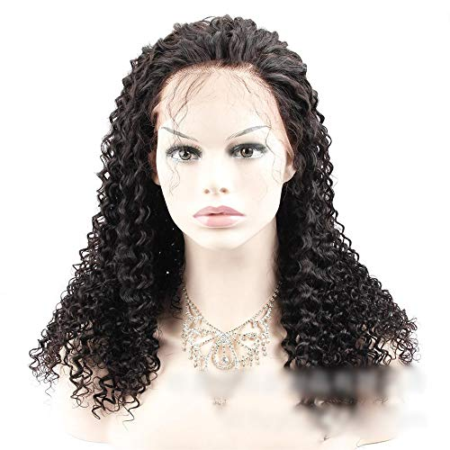Lorachun Brazilian Curly Hair 360 Lace Frontal Closure Jerry Curly Lace Frontal Natural Color Human Hair Extensions Fashion (Color : Black, Size : 10 inch)