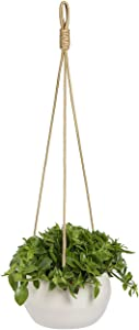 YXMYH Modern White Ceramic Hanging Planter for Indoor Plants Porcelain Hanging Plant Holder 8 Inch Geometric Flower Pot with Polyester Proe
