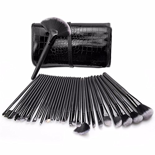 32 Piece Makeup Brushes Set with Pouch Bag Soft Eyebrow Shadow Make Up Tool Professional Natural Beauty Palette Eyeshadow Perfect Popular Eyes Faced Colorful Rainbow Hair Highlights Kit, Type-01