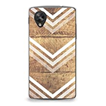 Case for Nexus 5, CasesByLorraine Wood Print Chevron Arrow Pattern Case Plastic Hard Cover for LG Google Nexus 5 (G10)