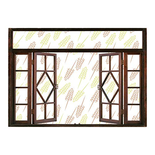 Windows Frame Wall Mural Stickers/Harvest,Pattern with Wheat Grain Ears Autumn Organic Food Bread Cereal Decorative,Apple Green Dark Orange White/Wall Sticker Mural ()