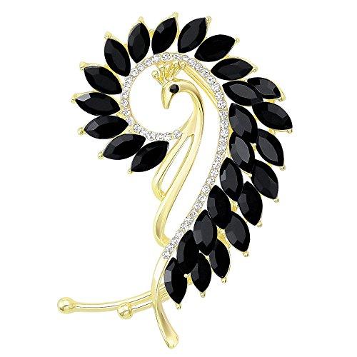 - Fashion Gold-Tone Cat Eye Stone Peacock Left Side Ear Wrap Cuffs Earrings Non Pierced Earrring Black