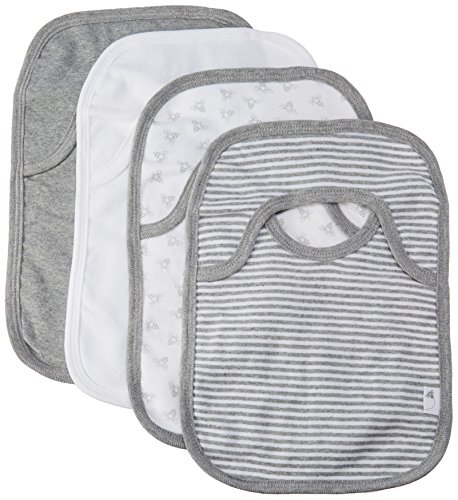 Burt's Bees Baby - Set of 4 Bee Essentials Lap Shoulder Bibs, 100% Organic Cotton, Heather Grey ()
