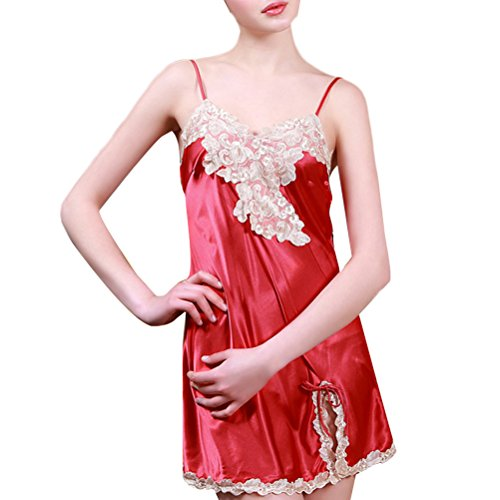 Zhhlinyuan Fashion Home Silk Pajamas Unique Design Womens Sleeveless Sleep Skirt DQ112 Chinese red
