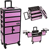 Sunrise I3364DMPLB Purple Diamond 3 Tiers Accordion Trays Professional Rolling Aluminum Cosmetic Makeup Craft Storage Organizer Case and Stackable Trays with Dividers