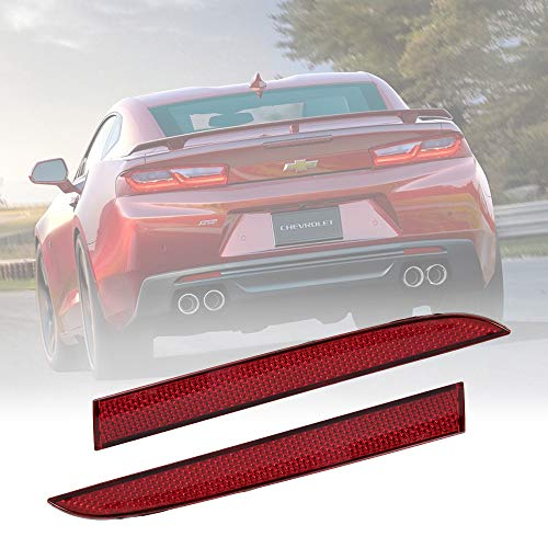 BUNKER INDUST 2 Pcs Red Rear Left and Right Side Bumper Reflector for Chevrolet Camro Coupe 2016/Traverse 2013-2017/Cadillac ATS Sedan 2013-2017/Coupe 2015-2017/XT5 2017 Pontiac - Safety Reflector Rear Red