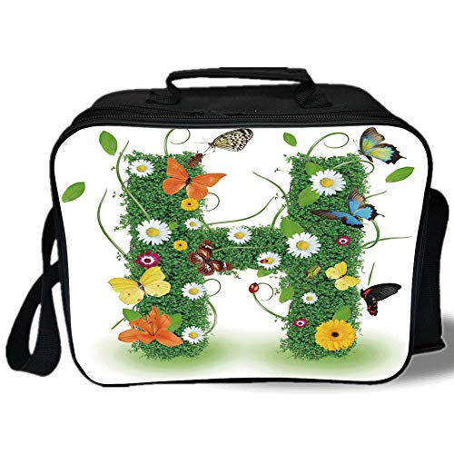 (Letter H 3D Print Insulated Lunch Bag,Ornamental H with Summer Effects and Dahlia Ladybug Daisy Initials Artsy Concept,for Work/School/Picnic,Multicolor)