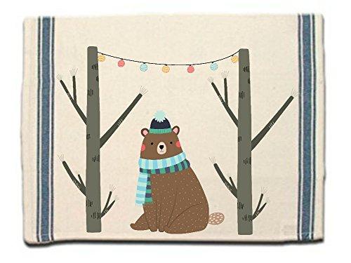 Woodland Dish Towel - Winter Bear Kitchen Towel|Dish Towel| Tea Towel| Flour Sack Material| Woodland Animals Dish Towel| Flour Sack Kitchen Towel|Dish Cloth