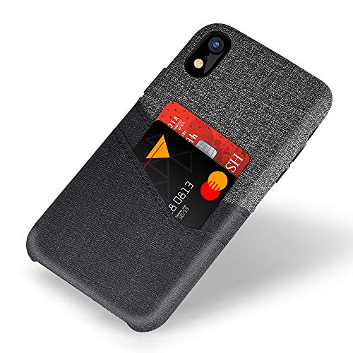 (VEGO Wallet Case for iPhone XR 6.1 inch, Card Pocket Case with Card Slot Holder, Non-Slip Twill Canvas Style Synthetic Leather Excellent Grip, Soft Fiber Cloth Lining Compatible iPhone XR)