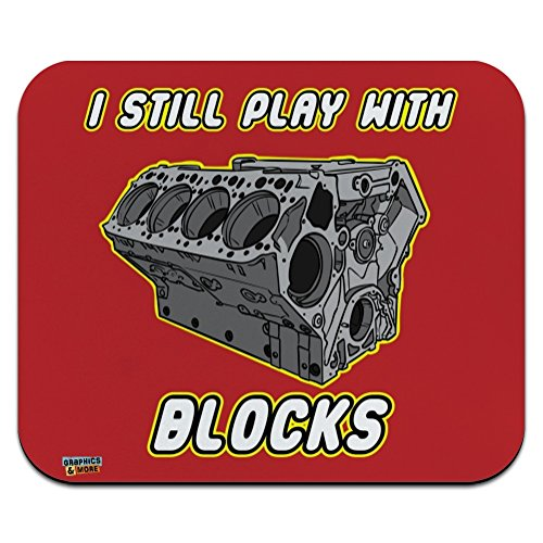 I Still Play with Blocks Automotive Mechanic Car Engine Low Profile Thin Mouse Pad Mousepad ()