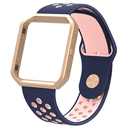 Simpeak Replacement Band for Fitbit Blaze,Soft Silicone Sport Strap Wristband with Metal Frame for Fitbit Blaze Smart Fitness Watch,Blue+Pink. Small