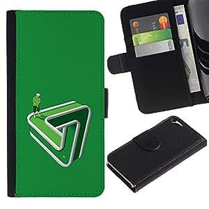 Be Good Phone Accessory // Caso del tirón Billetera de Cuero Titular de la tarjeta Carcasa Funda de Protección para Apple Iphone 5 / 5S // Putting Golf Funny Green Paradox