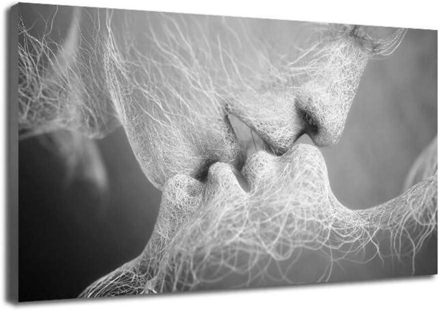 MINRAN DECOR E En Blanco y Negro - Lienzo artístico Monocromo diseño Abstracto Tema «Beso de Amor», Cuadro Mural para decoración del hogar 60cm*90cm Black and White, 60cmx100cm