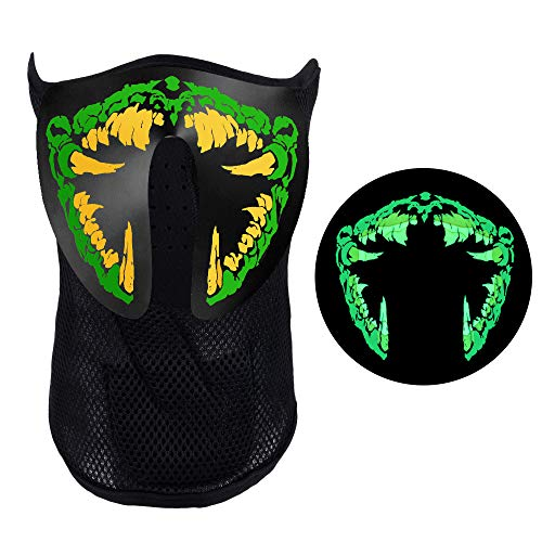 Music Party Led Mask, Festival Costumes Light Up Mask Sound Activated (Sharp Teeth) -