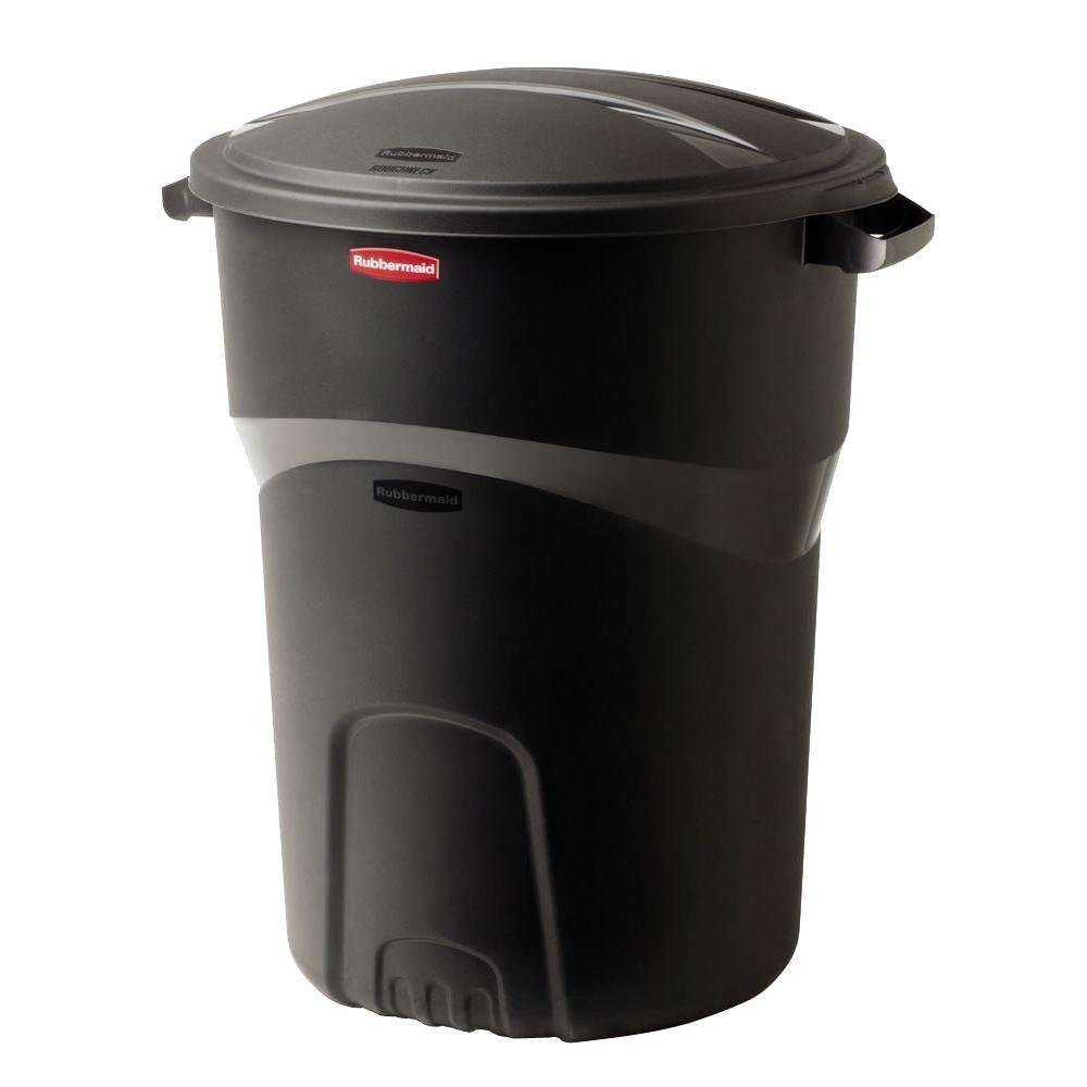 Rubbermaid Roughneck 32 Gal. Black Round Trash Can with Lid (2-Pack)
